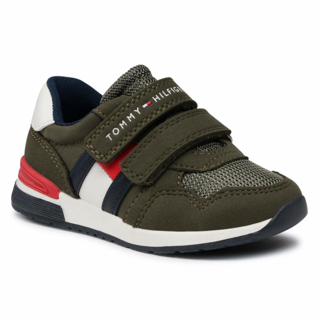 Sneakersy TOMMY HILFIGER - Low Out Velcro Sneaker T1B4-30481-0732 M Military Green 414