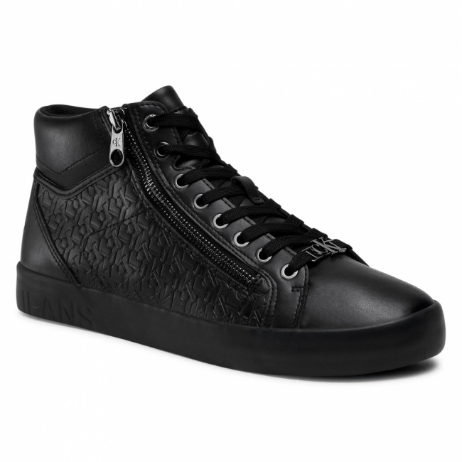 Sneakersy CALVIN KLEIN JEANS - Vulcanized Mid Laceup Zip Pu-Ny YM0YM00079 Full Black BEH