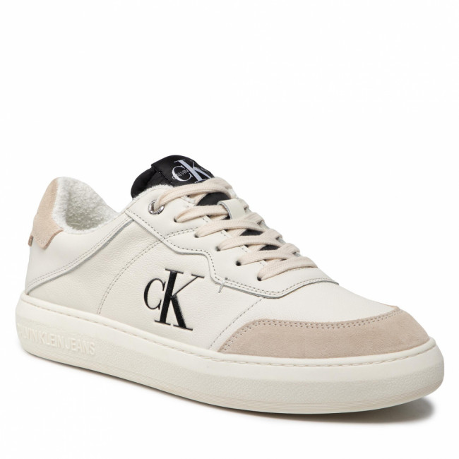 Sneakersy CALVIN KLEIN JEANS - Cupsole Laceup Casual Warm YM0YM00283 Cream/Black 03A