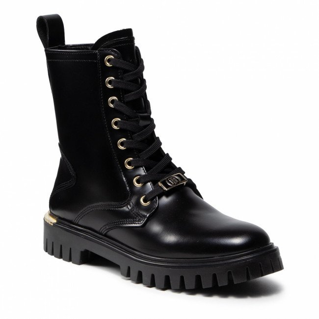 Outdoorová obuv TOMMY HILFIGER - Polished Leather Lace Up Boot FW0FW06008 Black BDS