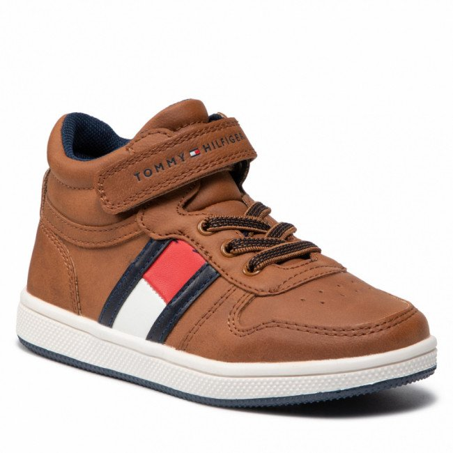 Sneakersy TOMMY HILFIGER - Higt Top Lace-Up/Velcro Sneaker T1B4-32049-0900 S Tobacco 520