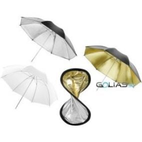 Walimex Double Reflector + Umbrellas silver gold