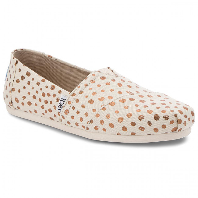 Poltopánky TOMS - Classic 10011646  Rose Gold/Natural Canvas Dots