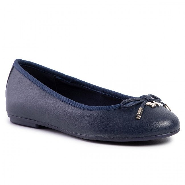 Baleríny TOMMY HILFIGER - Elevated Th Hardware Ballerina FW0FW04594 Sport Navy DB9