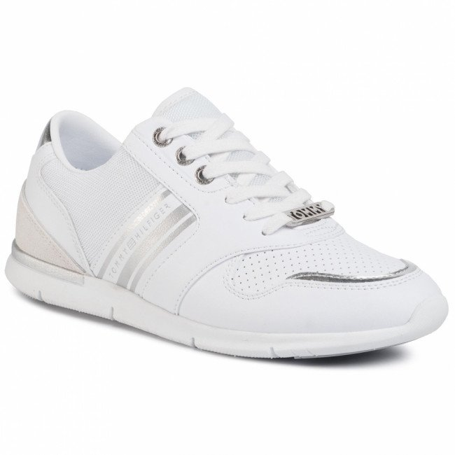 Sneakersy TOMMY HILFIGER - Metallic Lightweight Sneakers FW0FW04701 White/Silver 0K5
