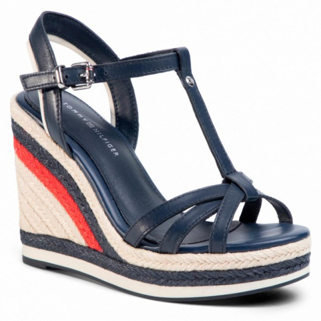 Espadrilky TOMMY HILFIGER - Tommy Strappy High Wedge FW0FW04839 Sport Navy DB9
