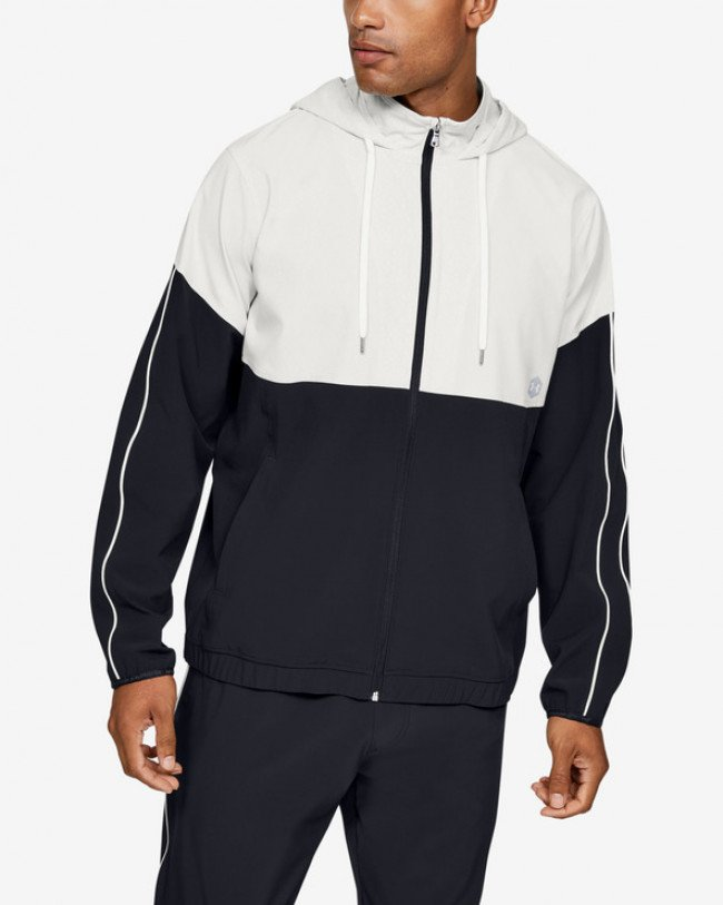 Under Armour Athlete Recovery Woven Warm Up Bunda Čierna Biela
