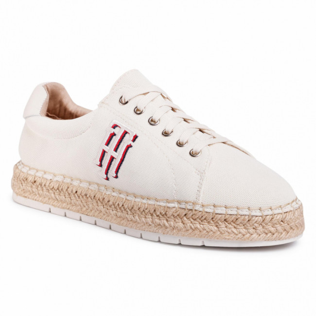 Espadrilky TOMMY HILFIGER - Nautical Th Lace Up Espadrille FW0FW04749 Ivory YBI