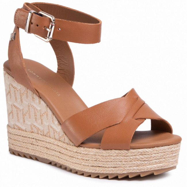 Espadrilky TOMMY HILFIGER - Th Raffia High Wedge Sandal FW0FW04842 Summer Cognac GU9