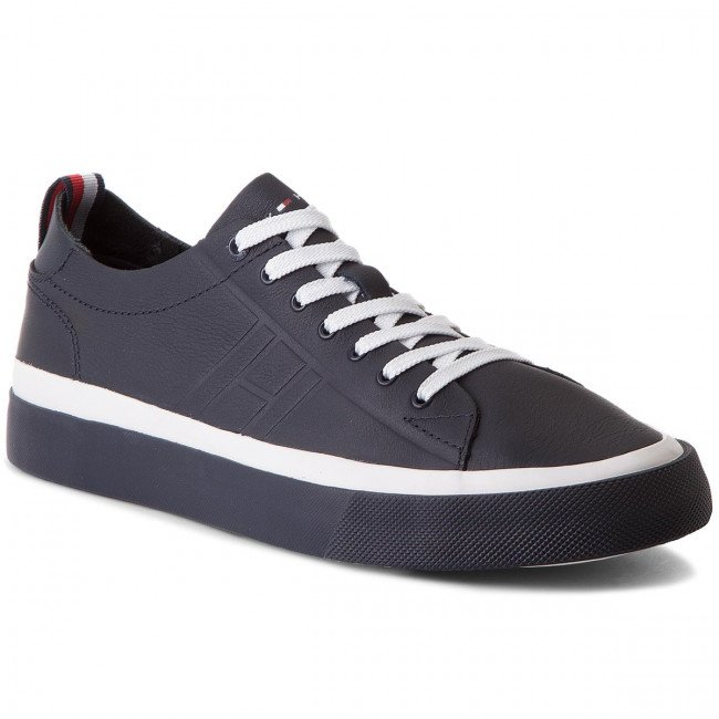 Sneakersy TOMMY HILFIGER - Unlined Low Cut Leather Sneaker FM0FM01627 Midnight 403