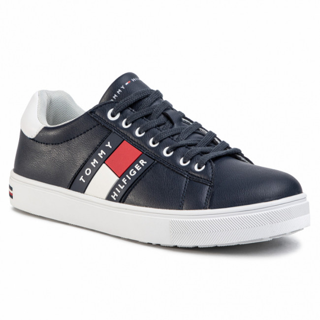 Sneakersy TOMMY HILFIGER - Low Cut Lace-Up Sneaker T3B4-30718-0900 D Blue/White X007
