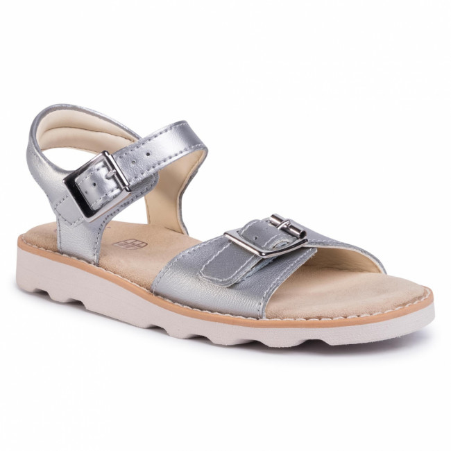 Sandále CLARKS - Crown Bloom K 261424786 Silver Leather
