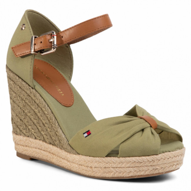 Espadrilky TOMMY HILFIGER - Basic Opened Toe High Wedge FW0FW04784 Faded Olive L9F