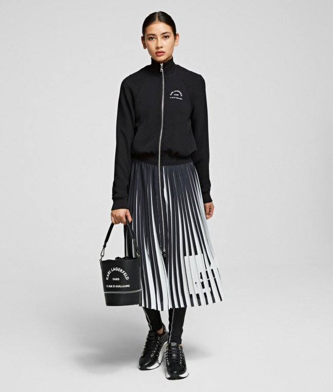Šaty Karl Lagerfeld Rue St Guillaume Pleated Dress - Čierna