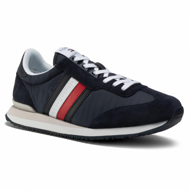 Sneakersy TOMMY HILFIGER - Low Mix Runner Stripes FM0FM02845  Desert Sky DW5