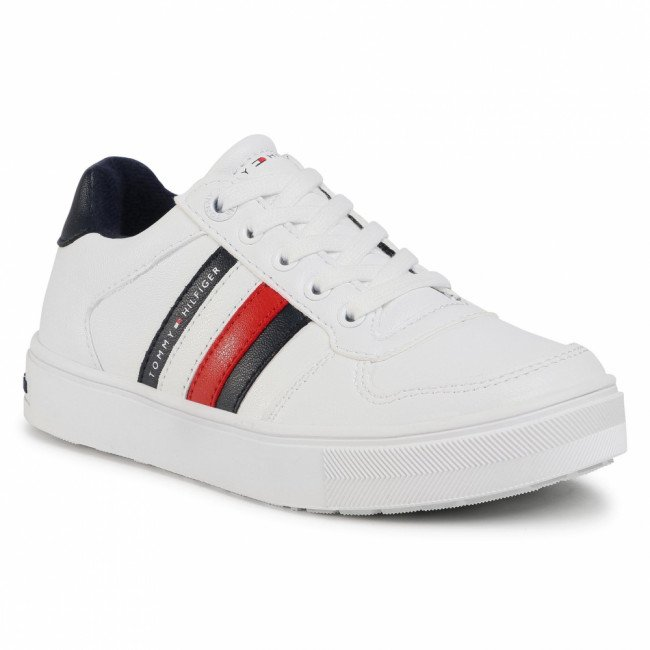 Sneakersy TOMMY HILFIGER - Low Cut Lace-Up Sneaker T3B4-30922-062110 M White 100