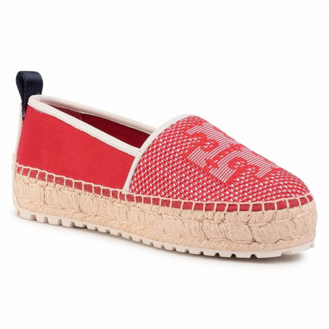 Espadrilky TORY BURCH - Miranda Lug Sole 63535 Brilliant Red/Brilliant Red/New Ivory 600