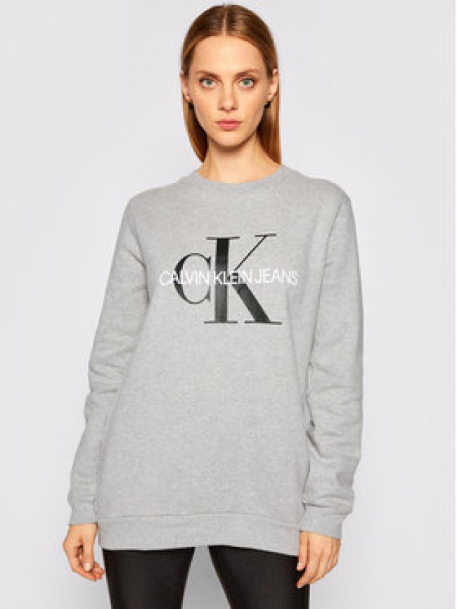 Calvin Klein Jeans Mikina Core Monogram Logo J20J207877 Sivá Relaxed Fit