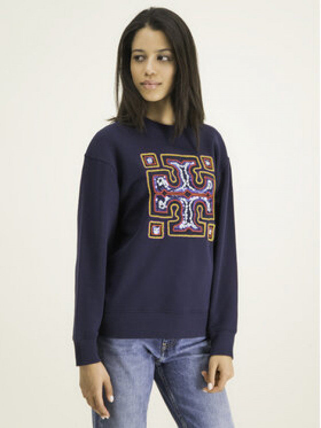 Tory Burch Mikina Embroidered Logo 61292 Tmavomodrá Regular Fit