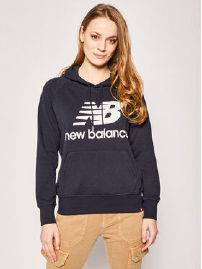 New Balance Mikina Essentials Stacked Logo WT91523 Tmavomodrá Relaxed Fit