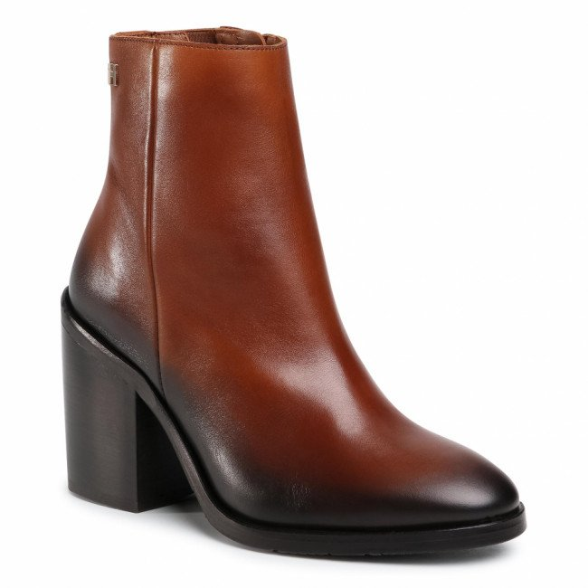 Členkové čižmy TOMMY HILFIGER - Shaded Leather High Heel Boot FW0FW05164 Pumpkin Paradise GOW