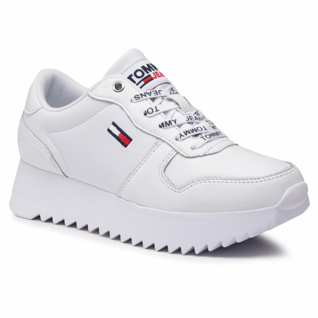 Sneakersy TOMMY JEANS - High Cleated Leather Sneaker EN0EN01120 White YBR