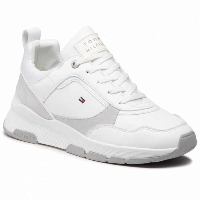 Sneakersy TOMMY HILFIGER - Sporty Chunky Leather Sneaker FW0FW05287 White YBR