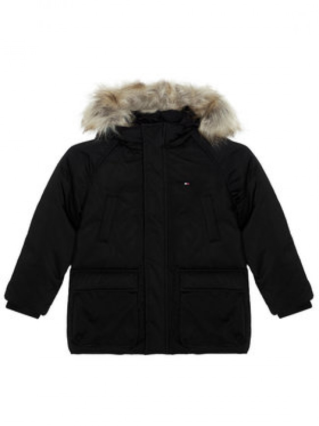 TOMMY HILFIGER Vatovaná bunda Tech Parka KB0KB05996 D Čierna Regular Fit