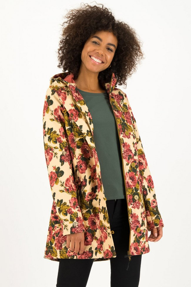 Blutsgeschwister kvetovaná softshellová parka Wild Weather Long Anorak Rose Tapestry