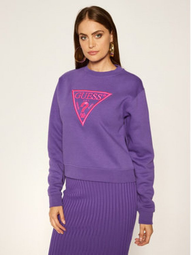 Guess Mikina Basic Triangle Fleece W0YQ50 K9Z20 Fialová Regular Fit
