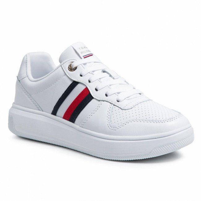 Sneakersy TOMMY HILFIGER - Tape Leather Cupsole FW0FW05550 White YBR