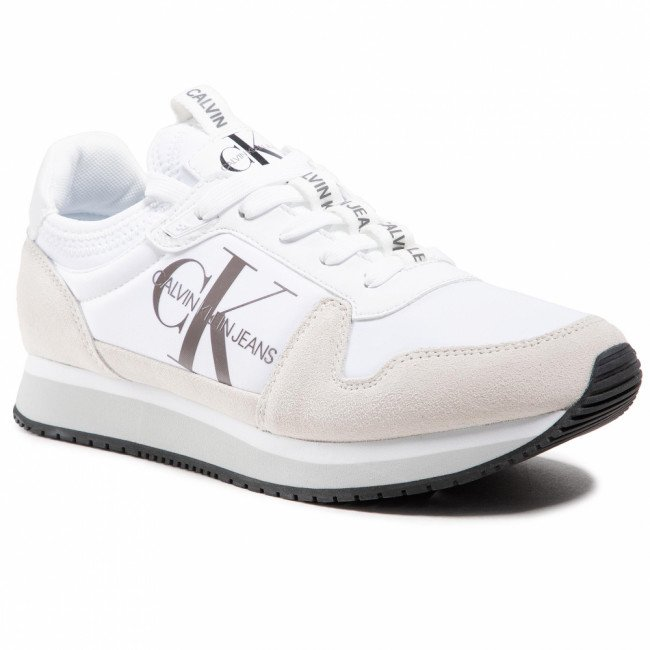 Sneakersy CALVIN KLEIN JEANS - Runner Sock Laceup Ny-Lth YM0YM00040 Bright White YAF