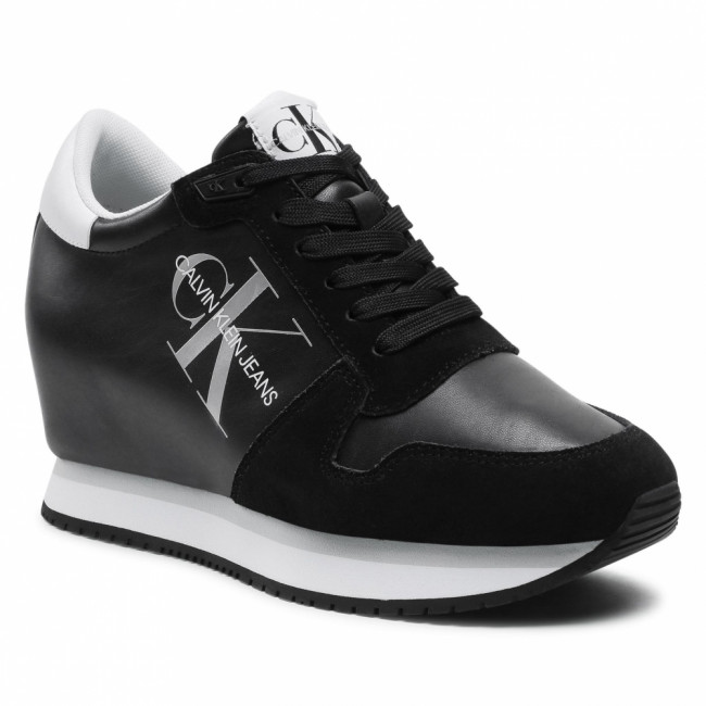 Sneakersy CALVIN KLEIN JEANS - Wedge Sneaker Laceup Ny-Lth YW0YW00081 Black BDS