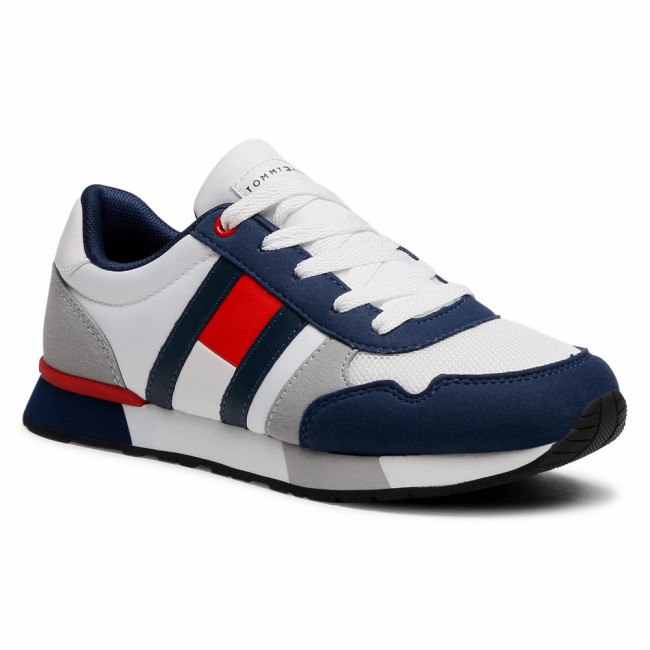 Sneakersy TOMMY HILFIGER - Low Cut Lace-Up Sneaker T3B4-31092-0732 S Blue/Red X040