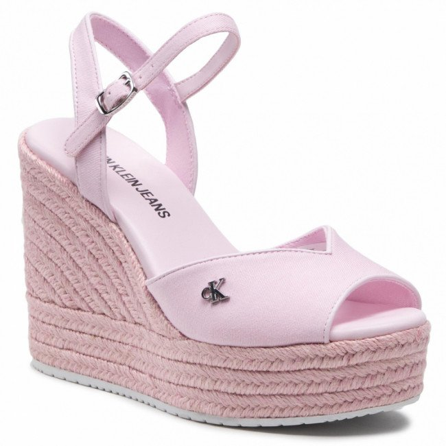 Espadrilky CALVIN KLEIN JEANS - Wedge Sandal Ankle Strap YW0YW00121 Pearly Pink TN9