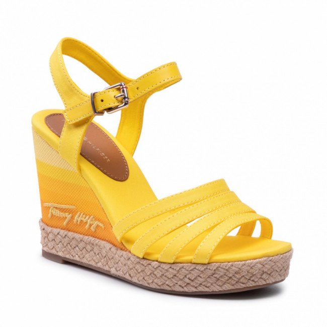 Espadrilky TOMMY HILFIGER - Tommy Gradient High Wedge Sandal FW0FW05631 Vivid Yellow ZGS