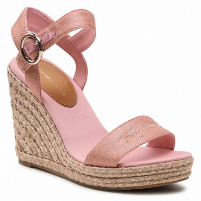 Espadrilky TOMMY HILFIGER - Th Signature High Wedge Sandal FW0FW05613  Soothing Pink TQS
