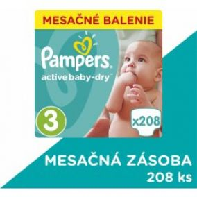 Pampers Plienky Active Baby 3 Midi 5-9kg 208 ks