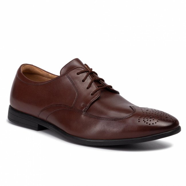 Poltopánky CLARKS - Bampton Wing 261463917  Mahogany Leather