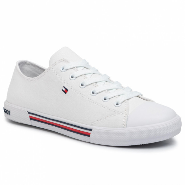 Tramky TOMMY HILFIGER - Low Cut Lace-Up Sneaker T3X4-30692-0890 D White 100