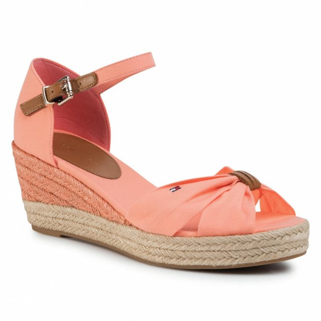 Espadrilky TOMMY HILFIGER - Basic Opened Toe Mid Vedge FW0FW04785 Island Coral SN7