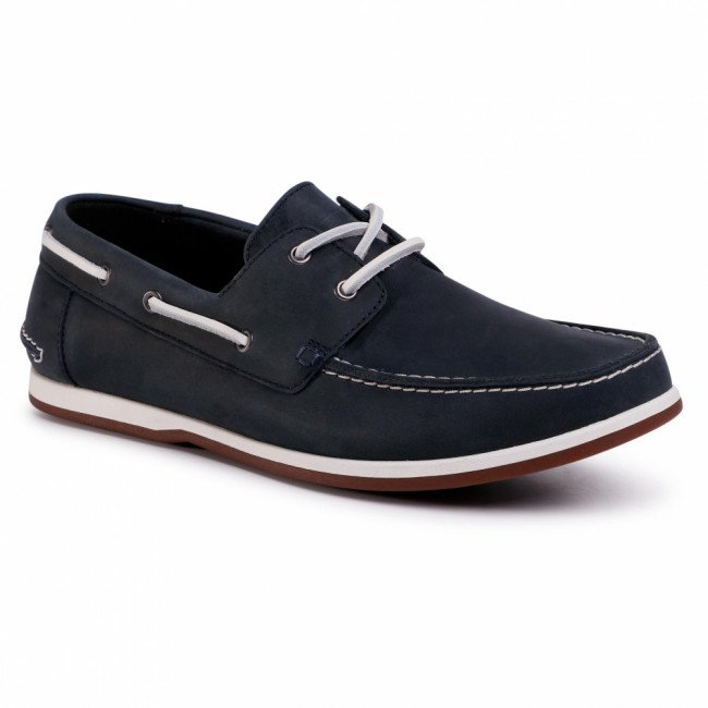 Mokasíny CLARKS - Pickwell Sail 261502347 Navy Leather