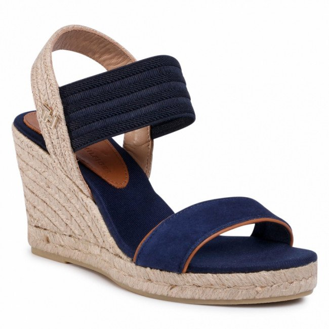 Espadrilky TOMMY HILFIGER - New Tommy Basic Opened Toe Wedge FW0FW04777 Desert Sky DW5