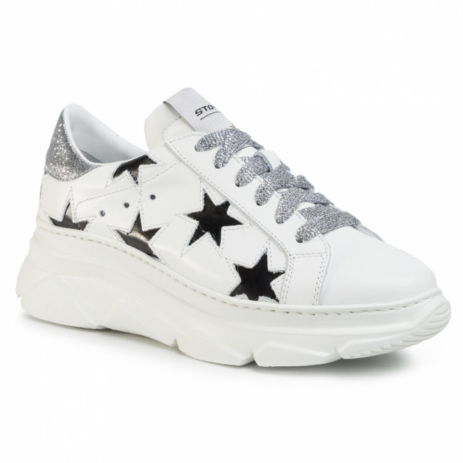 Sneakersy STOKTON - 352-D-SS20-UP Vitello Bianco/Glitter Argento