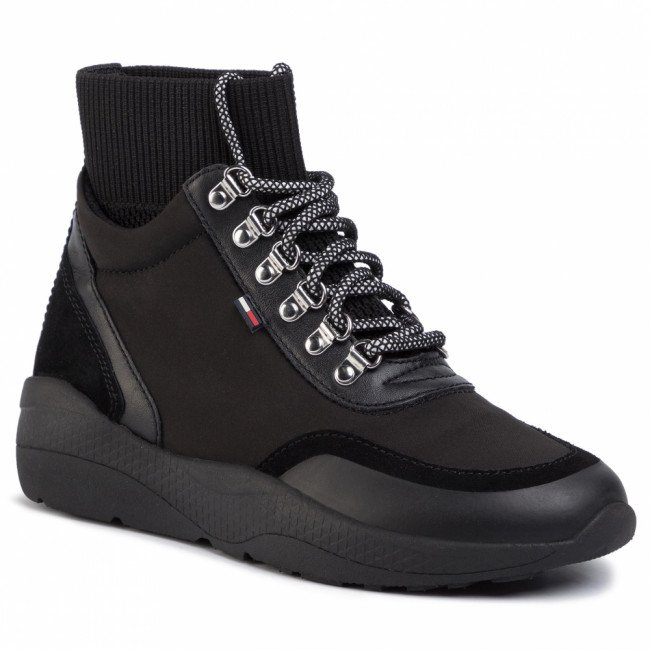 Sneakersy TOMMY JEANS - Lace Up Hybrid Boot EN0EN00709  Black BDS