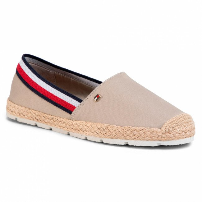 Espadrilky TOMMY HILFIGER - Basic Tommy Corporate Espadrille FW0FW04738 Stone AEP
