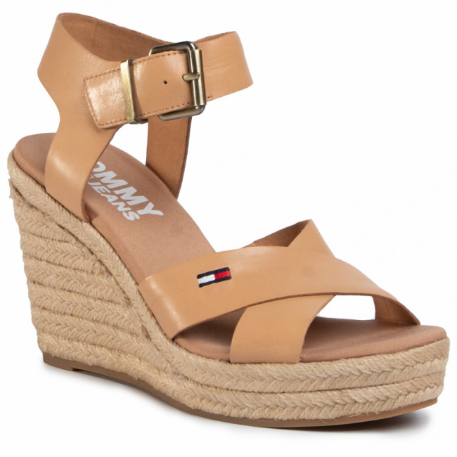 Espadrilky TOMMY JEANS - Natural Wedge Sandal EN0EN00912 Dusty Bronze GQE