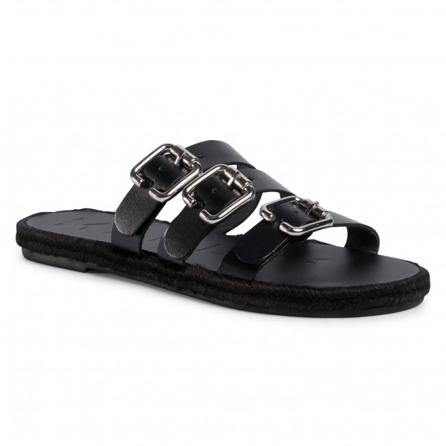 Espadrilky MANEBI - Leather Sandals S 2.1 Y0 Black W Triple Buckle