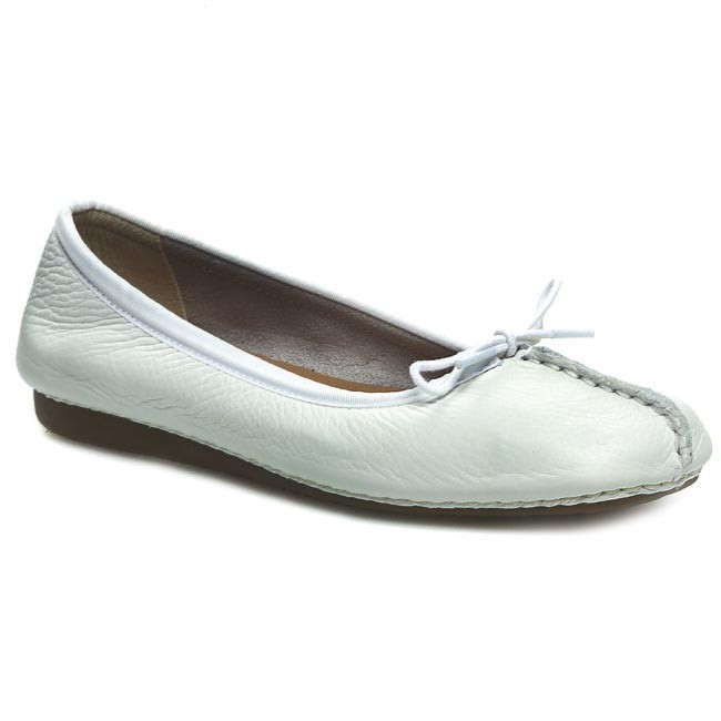 Baleríny CLARKS - Freckle Ice 203544554 White Leather