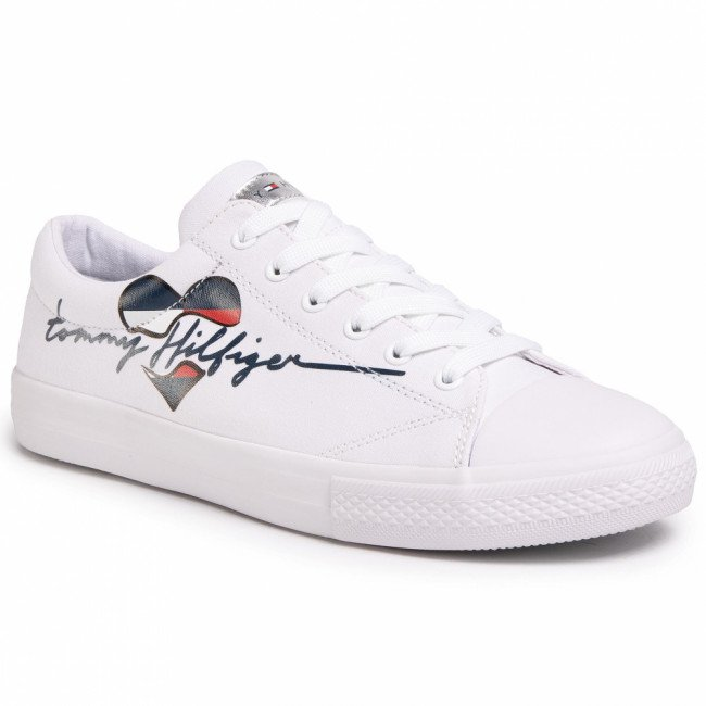 Tramky TOMMY HILFIGER - Low Cut Lace Up Sneaker T3A4-30600-0924 D White 100